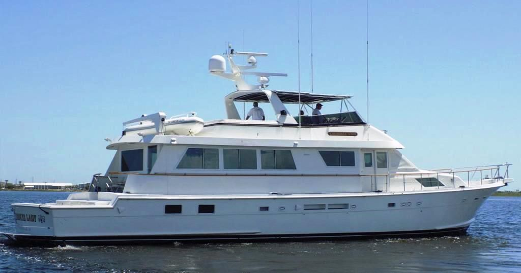 1990 hatteras motor yacht with cockpit power boat for sale