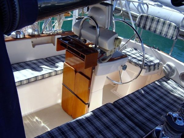 37' Island Packet 37 Cutter+View from the companionway