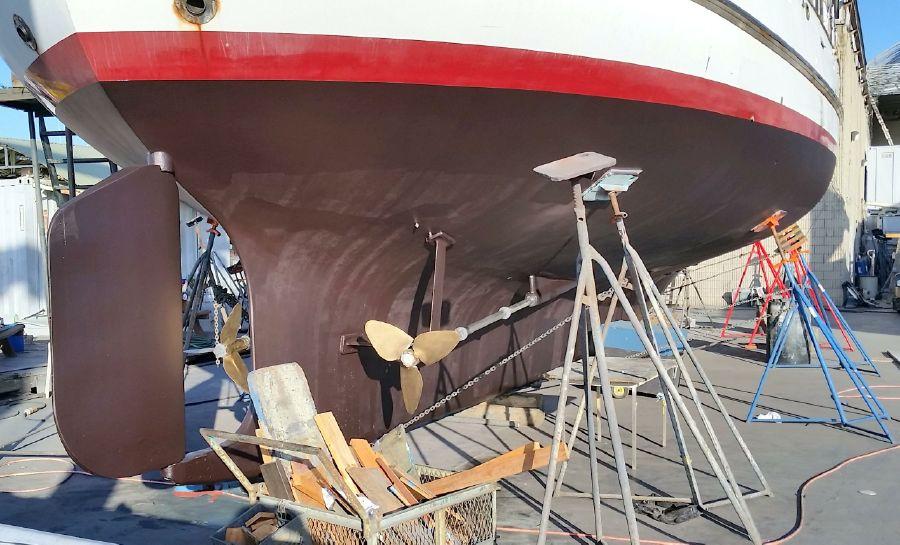 Cheoy Lee 63 Motorsailer Hauled in Shipyard