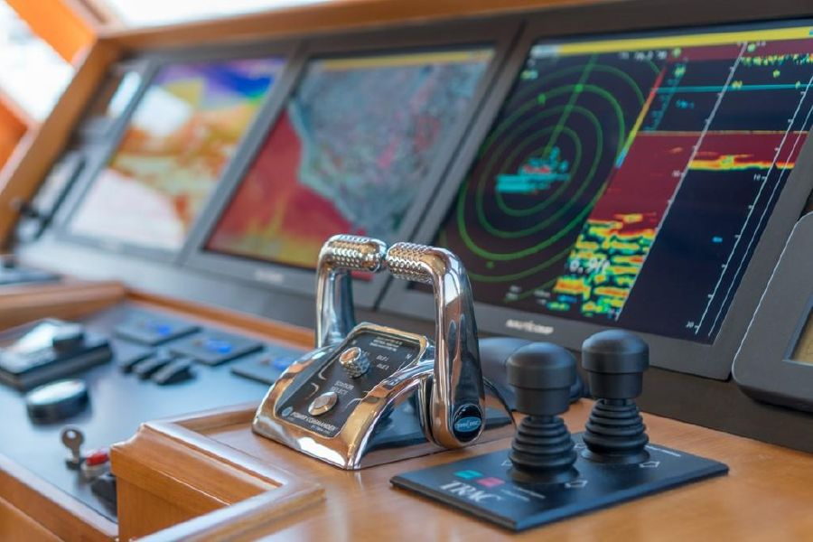 Offshore 64 Voyager Yacht Pilothouse Helm Controls