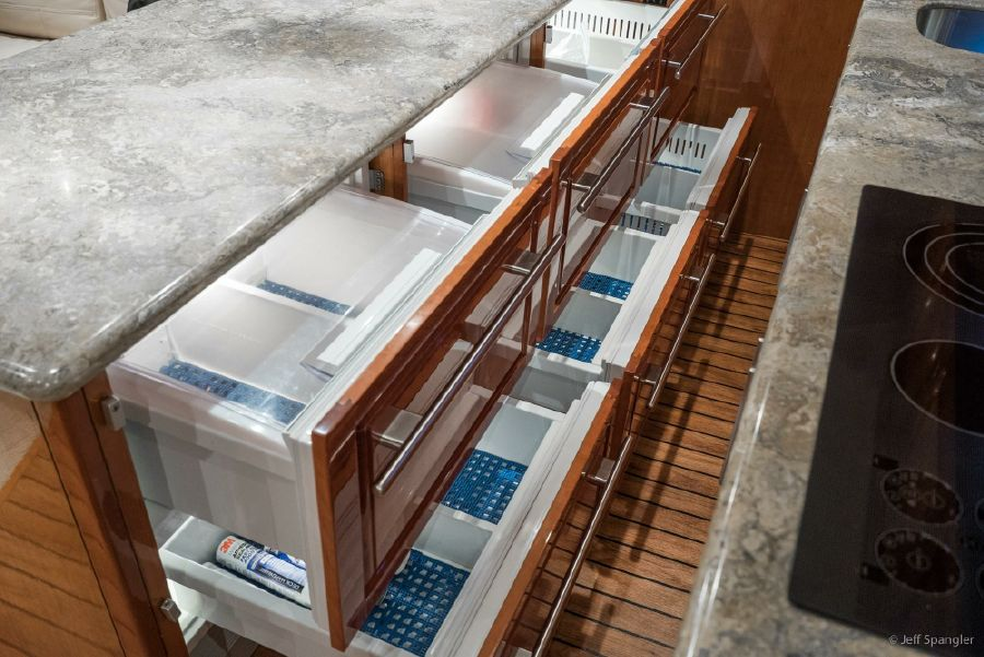Hatteras 60 Convertible Galley Drawers