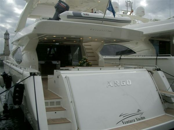 Ferretti 780 equipped with hard top for flybridge. This boat is also ...