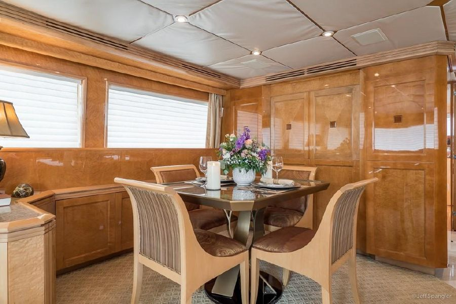 Hatteras 70 Luxury Yacht Dining Table