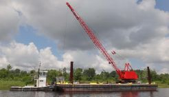 1953 Deck Spud Barge - 65 Ton Crane - 36 Pusher Tug Boat